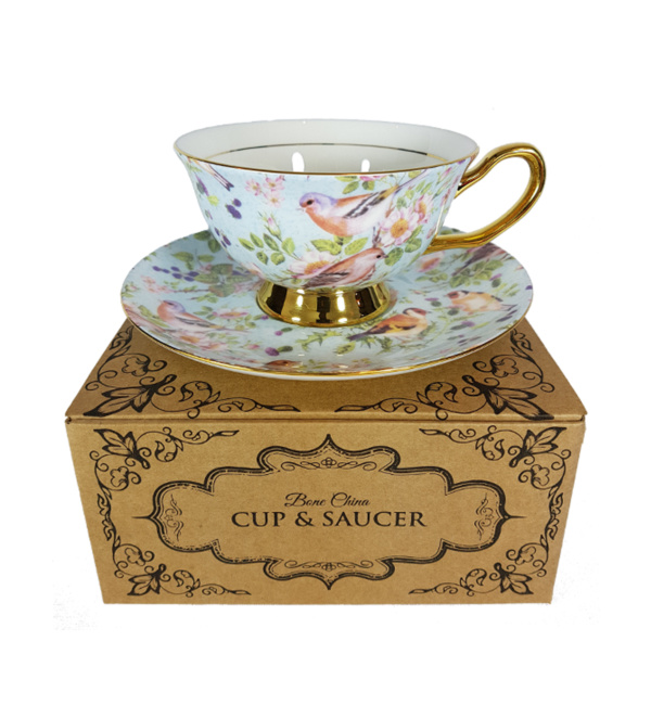 birds cup and saucer on gift box