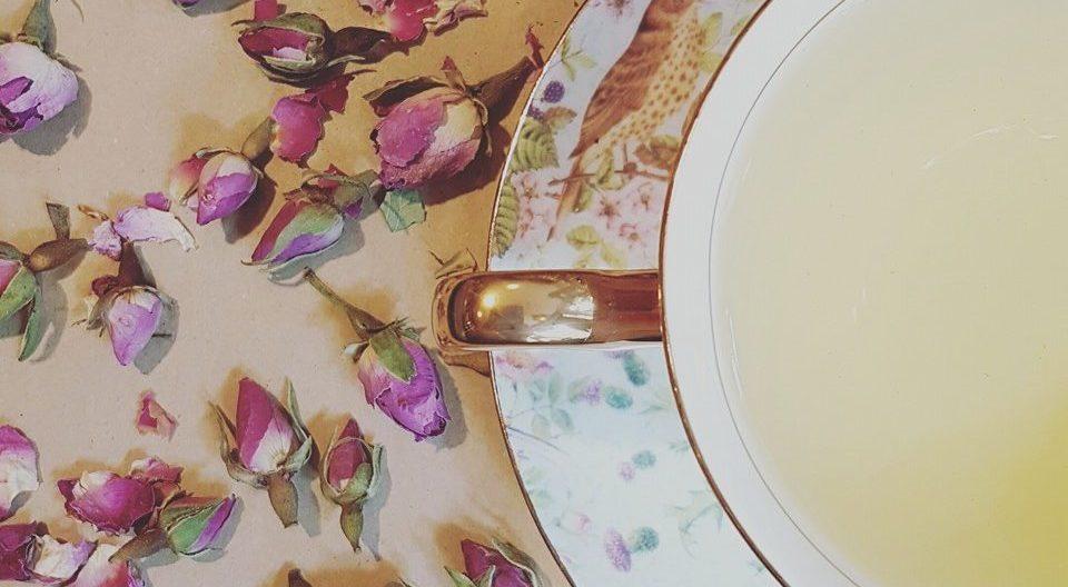 close up of rose bud tea