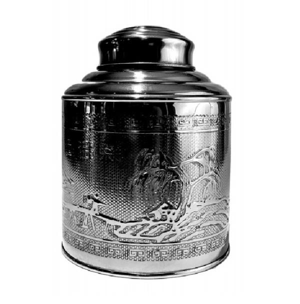 Round Silver Tea Caddy