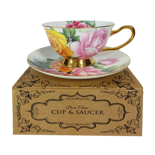 rose romance bone china cup and saucer on gift box
