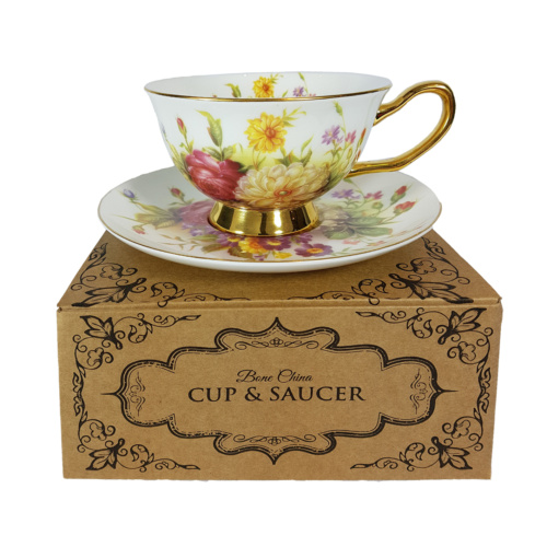 Bouquet Cup & Saucer on top of gift box