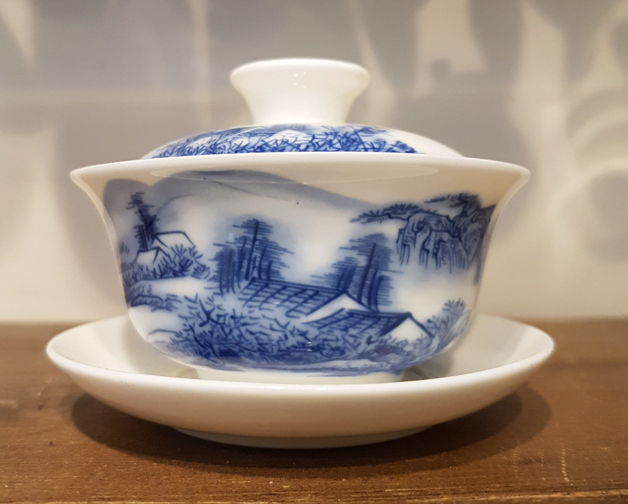 Chinese Gaiwan with a landscape pattern on it
