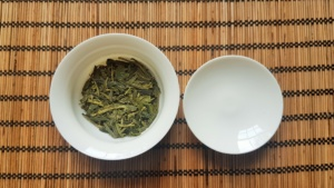 Gaiwan with 2 thirds Lung Ching Green Tea