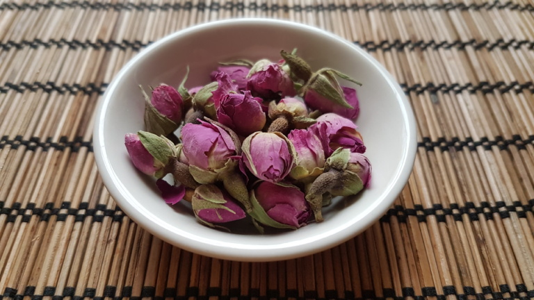 A dish with Rose Bud Tea
