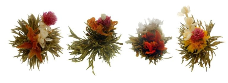 Photo of four different flowering teas