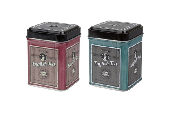 English Tea Caddy Blue and Red
